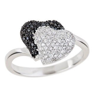 Decadence Sterling Silver Micropave Black and White Cubic Zirconia Double Heart Ring