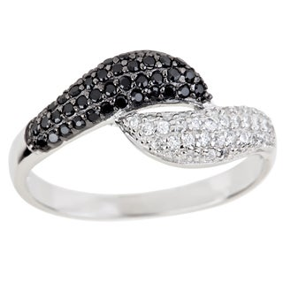 Decadence Sterling Silver Cubic Zirconia Black/ White Cubic Zirconia Leaf Ring