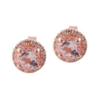 Rose Gold over Silver 1/6ct TDW Diamond and Morganite Stud Earrings
