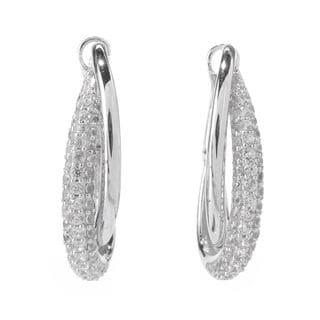Sterling Silver 2ct TGW White Zircon Hoop Earrings