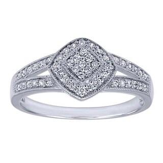 14k White Gold 1/5ct TDW DIamond Split Shank Ring (H-I, I1-I2)