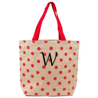 Personalized Red Polka-dot Natural Jute Tote