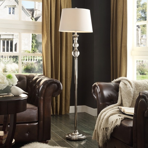 Quinn Satin Nickel Crystal 1-light Accent Floor Lamp by iNSPIRE Q Bold