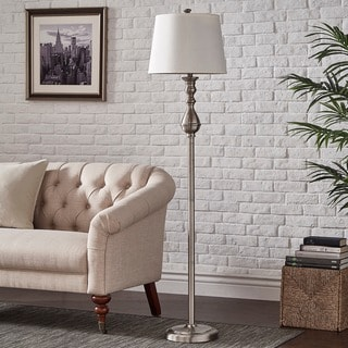 INSPIRE Q Sedgwick 3-way Satin Nickel Contoured Base 1-light Accent Floor Lamp