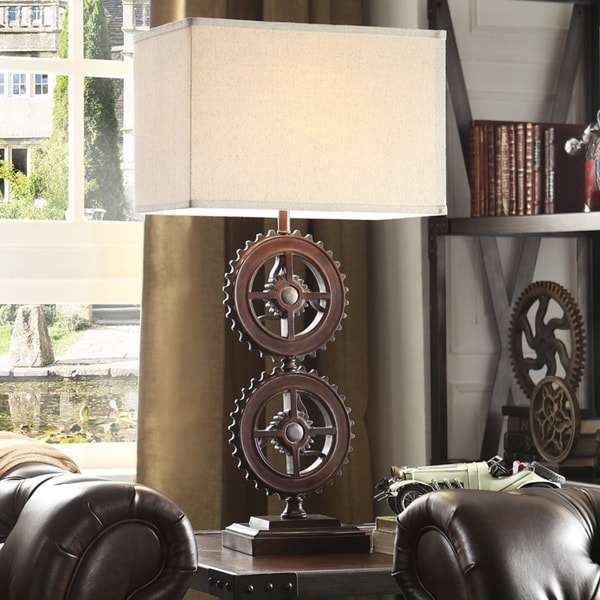 Shop Barnard Antique Bronze Metal Gears 1 Light Accent Table Lamp By