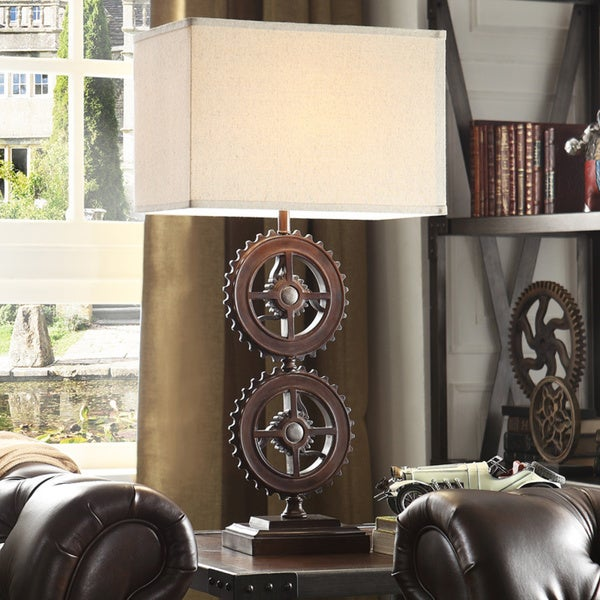 Barnard Antique Bronze Metal Gears 1 Light Accent Table Lamp By INSPIRE Q  Artisan