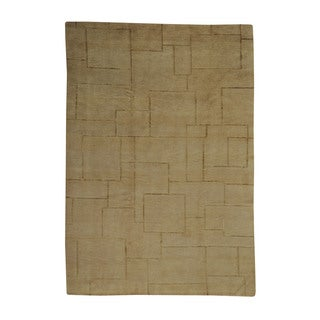 Wool and Silk Modern Nepali Beige Oriental  Hand-knotted Area Rug (6' x 8'8)