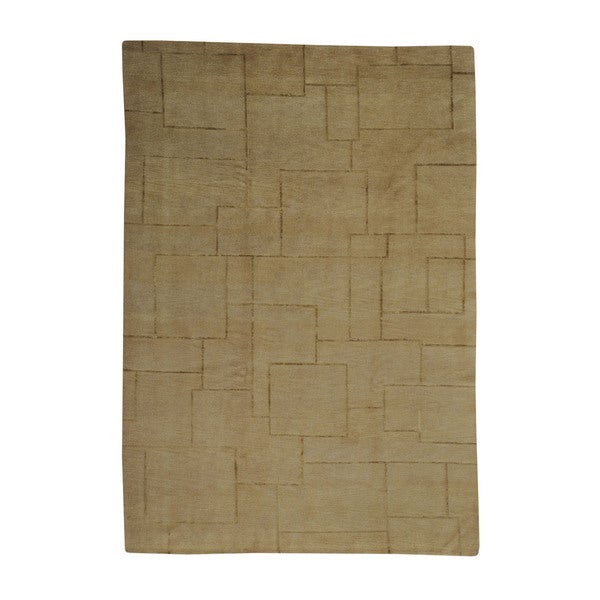 Shop Beige Wool Hand Knotted Oriental Persian Area Rug 6: Shop Wool And Silk Modern Nepali Beige Oriental Hand