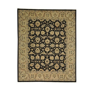 Charcoal Black Peshawar Wool Oriental Hand-knotted Area Rug (8' x 9'9)