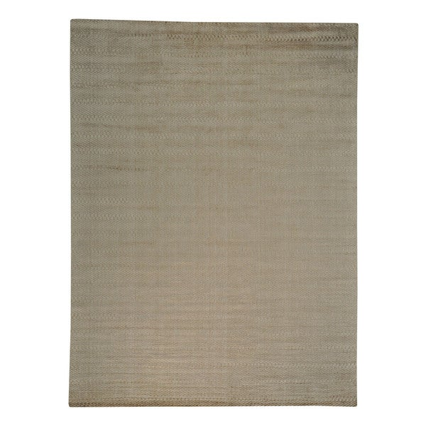 Rayon from Bamboo Silk Taupe Modern Hand-loomed Oriental Area Rug (8'9 x 11'9)