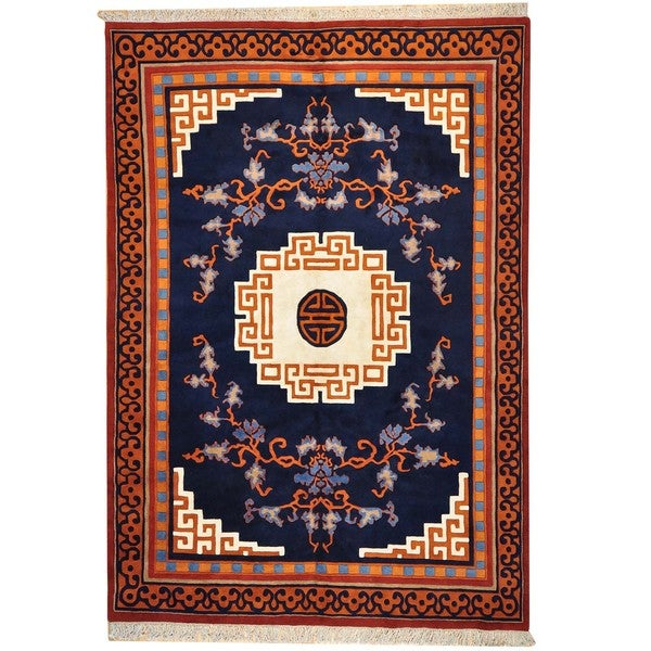 Thick and Plush Chinese Oriental Wool Area Rug (9'10 x 14')