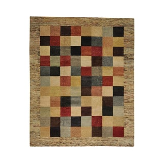 Peshawar Gabbeh Checked Design Hand-knotted Oriental Area Rug (8' x 9'10)
