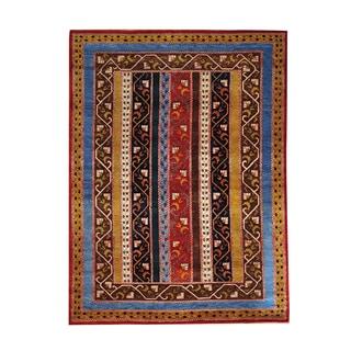 Shawl Design Oriental Hand-knotted Colorful Kashkuli Area Rug (5'8 x 7'8)