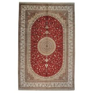 Oversize Red Silken Esfahan Oriental Area Rug (12' x 18'4)