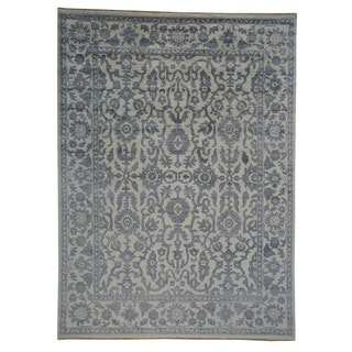 Hand-knotted Oushak Ivory Rayon from Bamboo/ Silk Rug (8'10 x 12'1)