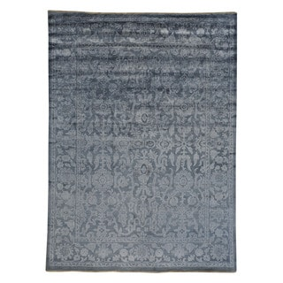 Handmade Oushak Silver Rayon from Bamboo/ Silk Rug (8'9 x 12')