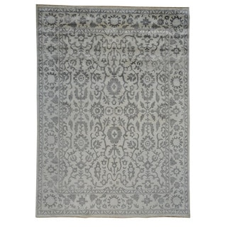 Tone on Tone Ivory Oushak Rayon from Bamboo Silk Oriental Area Rug (8'10 x 12')