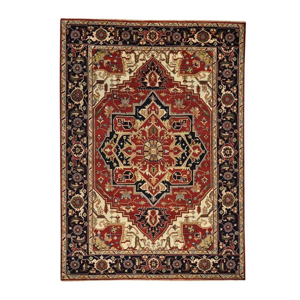 Hand Knotted Heriz Wool Fine Persian Oriental Area Rug: Shop Hand-knotted Serapi Heriz Rust Red Wool Oriental Area
