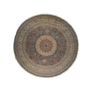 Round Pure Silk Tabriz 500-kpsi Hand-knotted Oriental Area Rug (15'8 x 16')