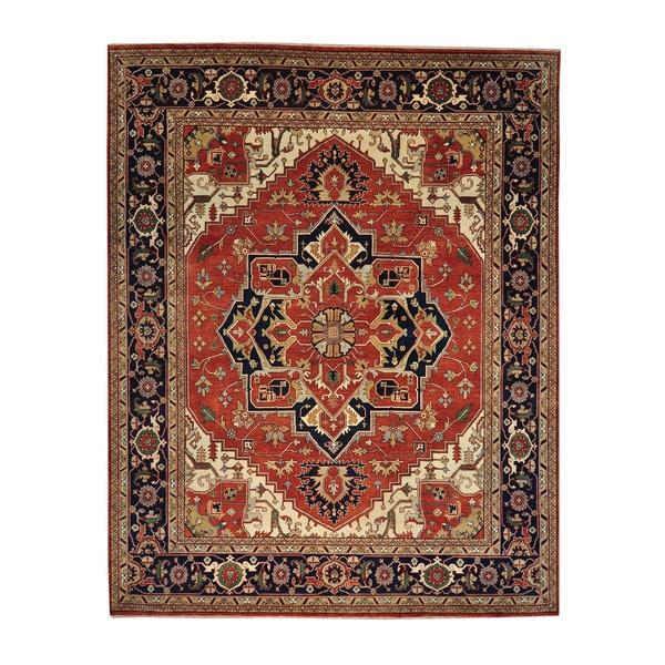 Rust Red Serapi Heriz Oversize Wool Handmade Oriental Area Rug