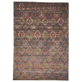Viscose Rayon from Bamboo Ikat Design Multicolored Oriental Area Rug (9'10 x 14')