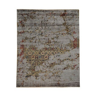 Broken Design Rayon from Bamboo Silk Modern Oriental Area Rug (7'10 x 9'9)