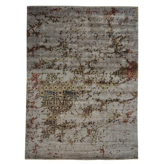 Rayon from Bamboo Silk Modern Broken Design Oriental Area Rug (10' x 13'8)