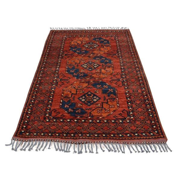 Shop Afghan Ersari Red Wool Handmade Oriental Area Rug 3 3 X 5 5