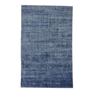 Viscose Rayon from Bamboo Modern Dense Weave Oriental Denim Blue Area Rug (5' x 7'10)