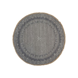 Oriental Wool and Silk Kashan Round Hand-knotted Area Rug (6'7 x 6'7)