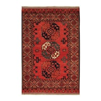 Red Wool Afghan Ersari Hand-knotted Oriental  Area Rug (4'1 x 6')