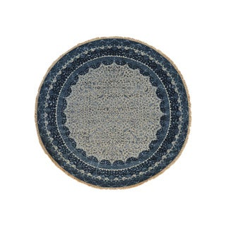 Wool and Silk Kashan Round Hand-knotted Oriental Area Rug (6'10 x 6'10)