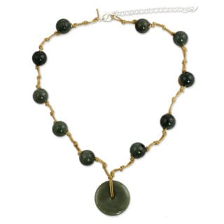 Handmade Sterling Silver 'Natural Spirit' Jade Necklace (Thailand)