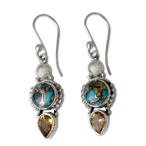Handmade Sterling Silver Summer Sunset Citrine Turquoise Dangling Style Earrings (India)