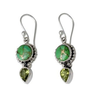 Handmade Sterling Silver 'Spring Green' Peridot Turquoise Earrings (India)