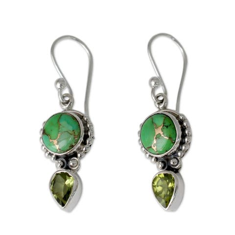 Handmade Sterling Silver Spring Green Peridot and Composite Turquoise Earrings (India)