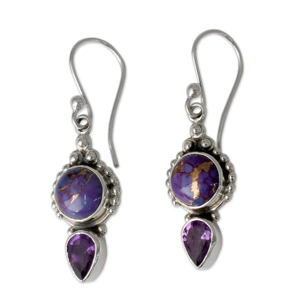 Handmade Sterling Silver Vision In Purple Amethyst Turquoise Dangling Style Earrings India