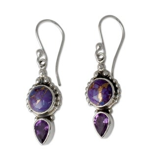 Link to Handmade Sterling Silver Vision in Purple Dangling Earrings (India) Similar Items in Necklaces