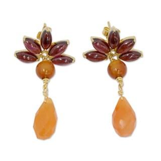 Gold Overlay 'Fiery Lotus' Garnet Carnelian Earrings (India)