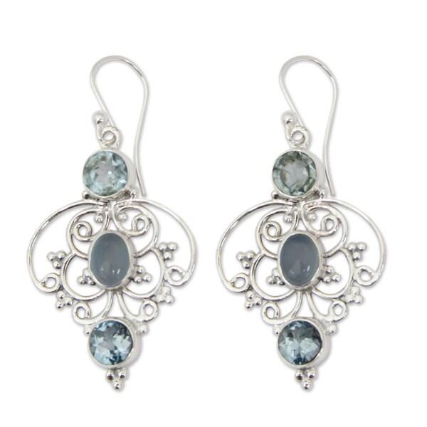 Handmade Sterling Silver Blue Arabesque Topaz Chalcedony Earrings (India)