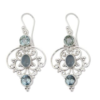 Handmade Sterling Silver Blue Arabesque Topaz Chalcedony Earrings (India)