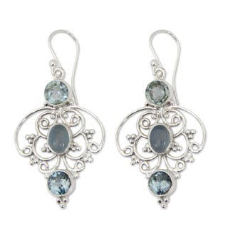Handmade Sterling Silver Blue Arabesque Topaz Chalcedony Earrings (India) https://ak1.ostkcdn.com/images/products/9820585/P16985622.jpg?impolicy=medium
