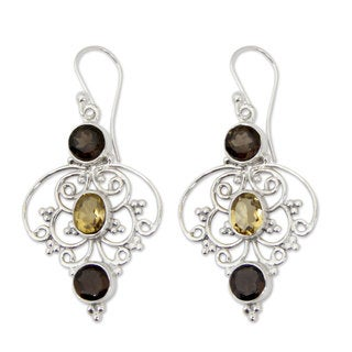 Handmade Sterling Silver 'Dusk Arabesque' Quartz Citrine Earrings (India)