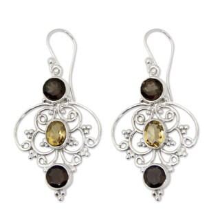 Handmade Sterling Silver 'Dusk Arabesque' Quartz Citrine Earrings (India)