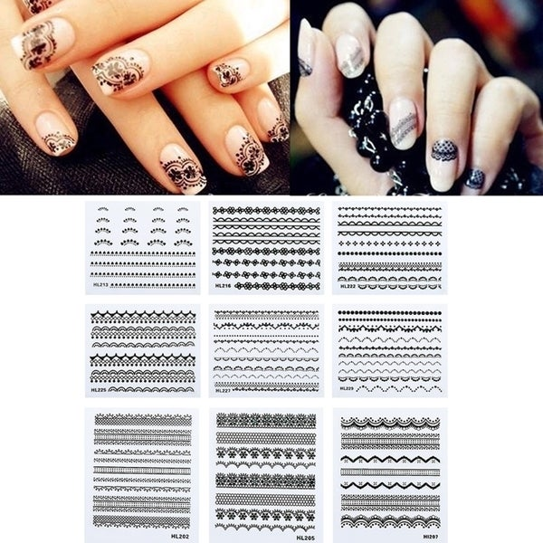 Zodaca Black 10-sheet Set Lace Nail Art Design Manicure Stickers