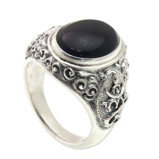 Handmade Men's Sterling Silver 'Black Om Kara' Onyx Ring (Indonesia)