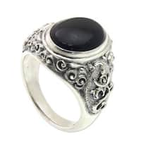 Handmade Men's Sterling Silver 'Black Om Kara' Onyx Ring (Indonesia) - Black