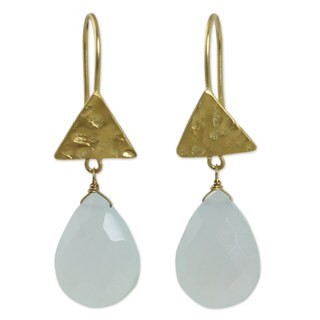 Handmade Gold Overlay 'Icy Azure' Chalcedony Earrings (Thailand)