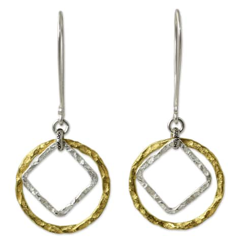 Gold Overlay 'Moonrise Window' Earrings (Thailand)