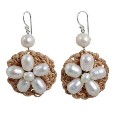 Silver 'Floral Garland in White' Pearl Earrings (5 mm) (Thailand)